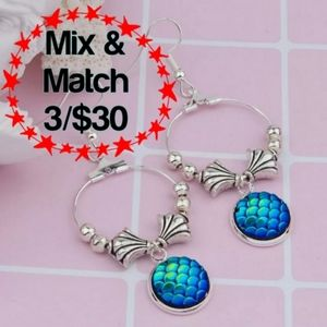 🔹️Mermaid/Dragon Scale Blue Dangle Earrings
